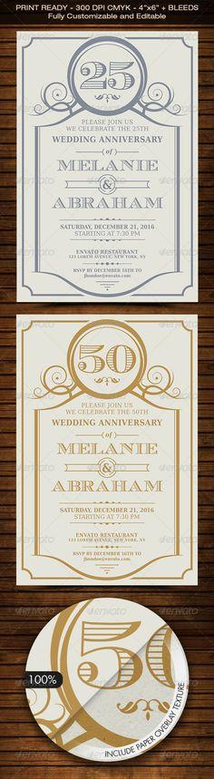 Vintage Flourish Anniversary Invitation