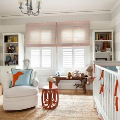 Adorable grey and orange nursery design with white & gray horizontal striped walls red & blue . Striped Nursery, Orange Nursery, Striped Walls, Nursery Neutral, Nursery Grey, Neutral Nurseries, Nursery Stripes, Bright Nursery, Modern Nurseries