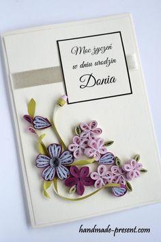 Handmade birthday card quilling flowers