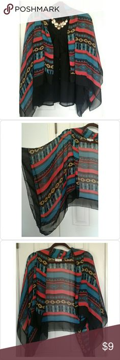 Southwest Drape/Shrug Brand: Lashes. Southwestern style shrug with pops of color. Delicate wash and hang to dry. Anthropologie Tops