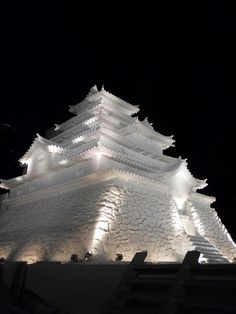 "Tsuruga Castle (Aizu-Wakamatsu Castle) ~ Sapporo Snow Festival, Hokkaido, Japan ~ Miks' Pics ""Man Made ll"" board @ http://www.pinterest.com/msmgish/man-made-ll/"