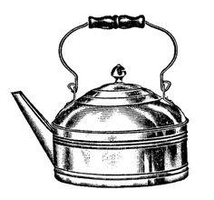 *The Graphics Fairy LLC*: Vintage Kitchen Clip Art - Tea Kettle and Coffee Pots