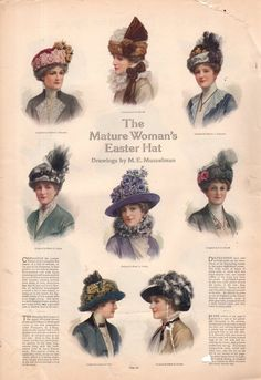 1913 Ladies Home Journal Print The Mature Woman's Easter Hat Girl's First Hat | eBay