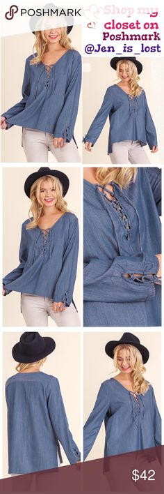 💙COMING SOON💙 Description: V-Neck Tencel Top with Tie Details on Sleeves and Neckline  Color: denim blue Fabric: COTTON BLEND Tops Blouses