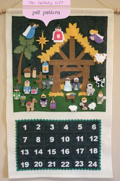 Nativity Advent Calendar • PATTERN • Instant Digital Download • door thelullabyloft op Etsy https://www.etsy.com/nl/listing/163424007/nativity-advent-calendar-pattern-instant
