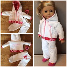 """18"""" doll clothes. Custom name embroidered hoodie with matching pants and scrunchie"""