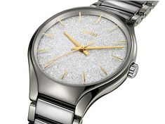American designer Samuel Amoia has partnered with Rado to create this limited edition Rado True Blaze. The True Blaze features a metallic dial that on first glance looks as if it were covered in fine diamonds. Rado, Watches Online, Omega Watch, Bracelet Watch, Jewelry Watches, Stainless Steel, Ceramics, Unisex, Dress Watches