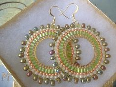 Beadwork Hoop Earrings  Metallic Lime Seed Bead by WorkofHeart