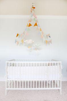 bunting above crib