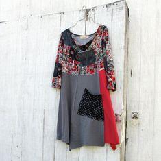 / Upcycled clothing / Funky Tshirt Dress / Eco Dress