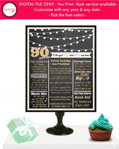 This 1927 Birthday Poster is the perfect addition to display at a 90 year old birthday party. This 1927 birthday PRINTABLE contains events, pop culture references, and highlights. This is sure to be a treasured personalized 90th birthday poster and it will match nicely with any other 90th Birthday Decoration! Celebrate 90 years with a sign that will go along with all your 90 birthday ideas! Can be customized for any year & with facts from any country. Size options include 8x10 or 16x20. ...