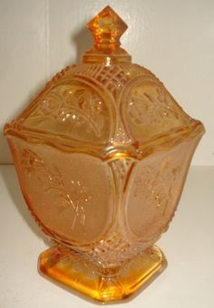 """Imperial Glass Amber Carnival """"Rose in Snow"""" 976 Jar and Cover w Sticker 