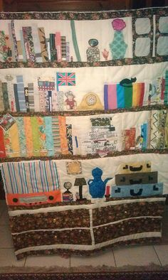 the book quilt ready for binding Bookshelves, Bookcase, Book Quilt, Book Making, Kitchen Furniture, Quilts, Blanket, Scrappy Quilts, Bookcases