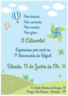 Convite - Festa de Aniversário Cataventos e Balões