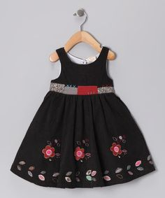 Take a look at this Black Patchwork Corduroy Dress - Infant, Toddler & Girls by the Silly Sissy on #zulily today!