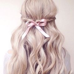 ♡ perfect and simple braid with a pink ribbon ♡