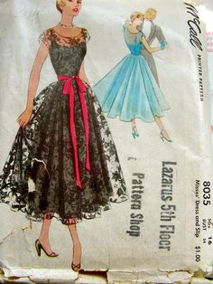 Retro Sewing McCall 8035 - Vintage Sewing Patterns, - McCall's Misses' Dress and Slip Dress with fitted, illusion bodice and full skirt. Formal Dress Patterns, Wedding Dress Patterns, Vintage Dress Patterns, Clothing Patterns, Wedding Dresses, Skirt Patterns, Coat Patterns, Moda Retro, Moda Vintage