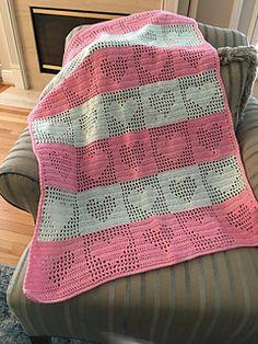 Ravelry: Tender Hearts pattern by Anne Halliday Crochet Bedspread, Crochet Quilt, Crochet Bebe, Filet Crochet, Crochet Square Patterns, Crotchet Patterns, Crochet Blanket Patterns, Crochet Heart Blanket, Manta Crochet
