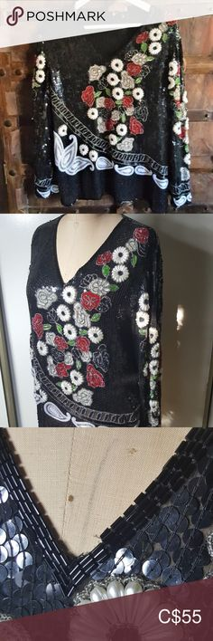 """Vintage sequin beaded top floral Vintage sequin beaded top tunic No tags of any kind My estimate is that it is a medium but please see measurements Black with a floral design in front and on the sleeves in white, red and green Various types of beads and sequins including faux pearl for the white Long sleeves V neck Approximate measurements:  shoulder to shoulder: 18"""", armpit to armpit: 20"""", length: 25"""" Preowned, most likely vintage. Some sequins/beads missing but nothing too obvious 1774… Blouse Vintage, Vintage Lace, Vintage Tops, Victorian Shirt, Striped Bodysuit, Lace Bustier, Beaded Top, Plus Fashion, Fashion Tips"""