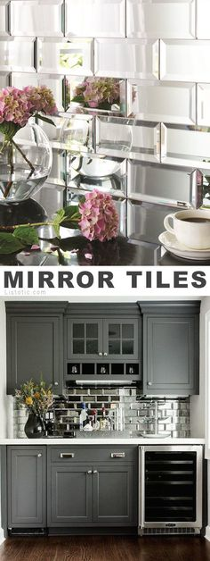 Mirrored tile!? I LOVE it! Lots of creative tile ideas for kitchen back splashes, master bathrooms, small bathrooms, patios, tub surrounds, or any room of the house! #lowcostremodeling