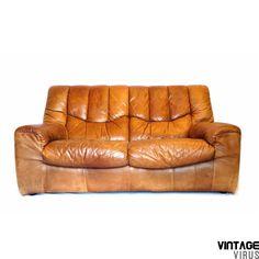Vintage leren bank De Sede-stijl van dik hoogwaardig cognac-bruin leer uit de jaren '60 '70