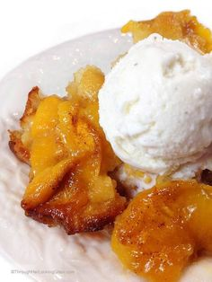 Roasted Peach Cobbler. The batter underneath cooks, bubbles up all around the peaches. Gets all crispy and yummy on the edges. It's really fabulous.