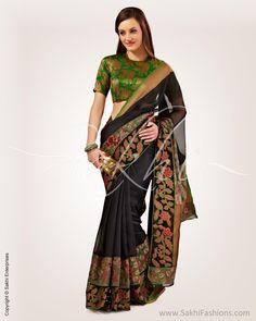 SR-0576 - Black & Multi Pure Chanderi Saree