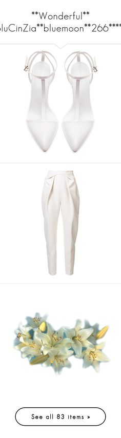 """""""**Wonderful** BluCinZia**bluemoon**266*****"""" by bluemoon ❤ liked on Polyvore featuring shoes, sandals, heels, white, pumps, ankle tie shoes, zara footwear, zara sandals, heeled sandals and white shoes"""