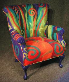 Beautiful felted wool but could paint upholstery in abstract design, colors of your choice Funky Painted Furniture, Colorful Furniture, Upcycled Furniture, Unique Furniture, Furniture Decor, Furniture Design, Painting Furniture, Furniture Stores, Furniture Outlet