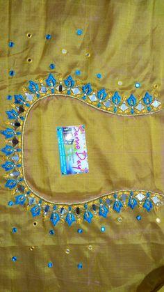Modern Embroidery, Hand Embroidery, Mirror Work Blouse Design, Mirror Words, Kutch Work, Maggam Works, Machine Embroidery Designs, Blouse Designs, Sarees