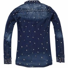 Men Navy Blue Denim Spike Studded Long Sleeve Punk Rock Fashion Shirt SKU-11407277