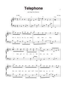 Use this printable piano sheet to play the song Telephone by the musician Lady Gage. It's a fun and hip song to play.