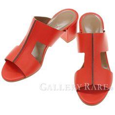 エルメス サンダル オスティア Ostia カーフ ミュール レディースサイズ37 1/2 HERMES 靴 レディース チャンキーヒール