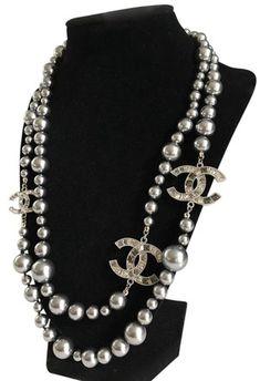 650030acc7caff Chanel Grey Big Cc Pearl Crystal. Ships Same/Next Day. Necklace - Tradesy