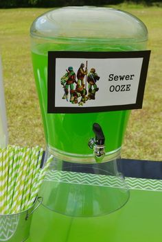 Carter & Clayton's Totally Awesome TMNT Birthday Party | CatchMyParty.com ~ Sewer Ooze (Kiwi-Strawberry Punch)