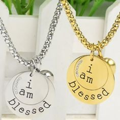 """Engraved """"I Am Blessed"""" Pendant Necklace - $12. https://www.tanga.com/deals/3ff84d9be678/engraved-i-am-blessed-pendant-necklace"""