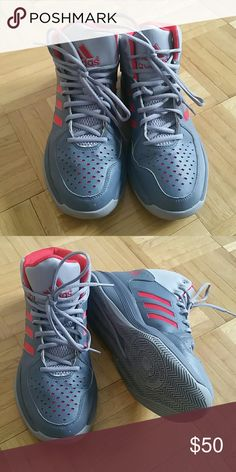 Adidas men's basketball sneakers Adidas basketball sneakers with ankle support, original laces, worn 5 times Adidas Shoes Athletic Shoes