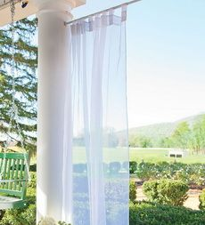 Outdoor VelcroR Curtains Tab Sheer Panel Water Repellent Mildew Proof Polyester Voile Stays Soft And Pretty Through Any Weather