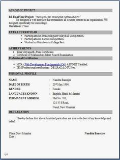 Resume Format On Word Simple Resume Format For Freshers In Word File137085913