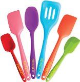 Lucentee 6-Piece Silicone Baking Set - Spatulas, Spoons & Turner - Heat Resistant Cooking Utensils (Multicolor) - http://howtomakeastorageshed.com/articles/lucentee-6-piece-silicone-baking-set-spatulas-spoons-turner-heat-resistant-cooking-utensils-multicolor/