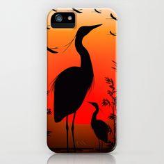 Heron Shape on Sunset iPhone & iPod Case by Bluedarkat Lem - $35.00
