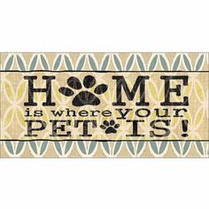 Pet Home Patterned Paw Print Burlap Inspirational Pet Typography Tan & Blue Canvas Art by Pied Piper Creative, Beige