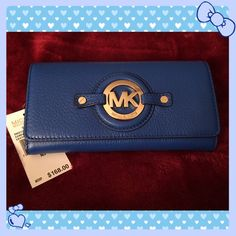 Michael Kors Carry All Wallet! BNWT! Electric blue buttery soft leather carry all with gold toned MK signature.  Take me home today!!!  Smoke free home. Michael Kors Bags Wallets