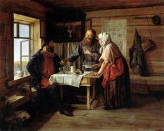 Попов Андрей Андреевич (1832 — 1896). Демьянова уха. Холст, масло. 1865