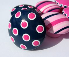 Hand Painted Drawer Knobs, Navy Blue, Light Pink, Hot Pink and White Polka Dots and Stripes, Set of 6 Kids Drawer Pulls