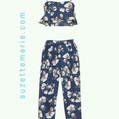 2 piece set. High waisted pants and crop top.