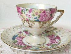 Teacup and Saucer Set ~ Pretty. Teapots And Cups, Teacups, Vintage Tea, Vintage China, Pink Teapot, China Tea Sets, Tea Pot Set, Chinese Tea, Rose Tea