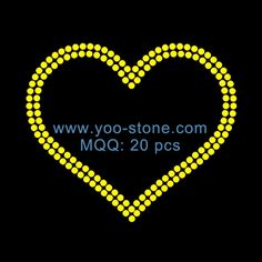 Yellow Heart Rhinestone Motif For Girl Clothes