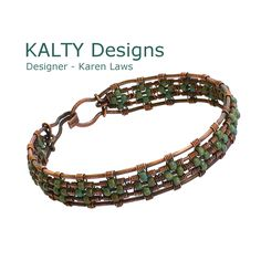 Oxidised bangle with seafoam colour beads in a diamond pattern.  Original design.  From KALTY Designs - Designer Karen Laws