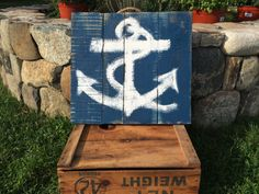 Wood Pallet Anchor Painting by on Etsy Anchor Painting, Wood Pallets, Unique Jewelry, Handmade Gifts, Sign, Etsy, Vintage, Kid Craft Gifts, Pallet Wood